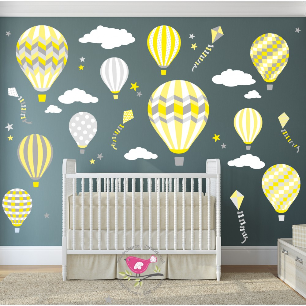 Deluxe Hot Air Balloons And Kites Luxury Wall Stickers Yellow, Grey, White Part 49