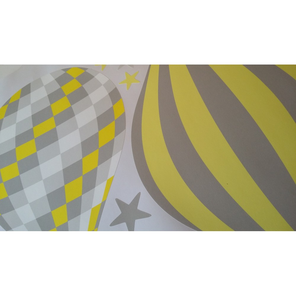 Hot Air Balloon Amp Jets Wall Stickers Yellow And Grey