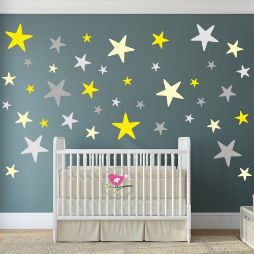 Yellow and Grey Stars Modern Nursery Wall Stickers