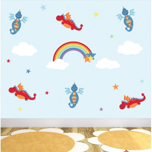 Dragons & Rainbow Nursery Wall Stickers