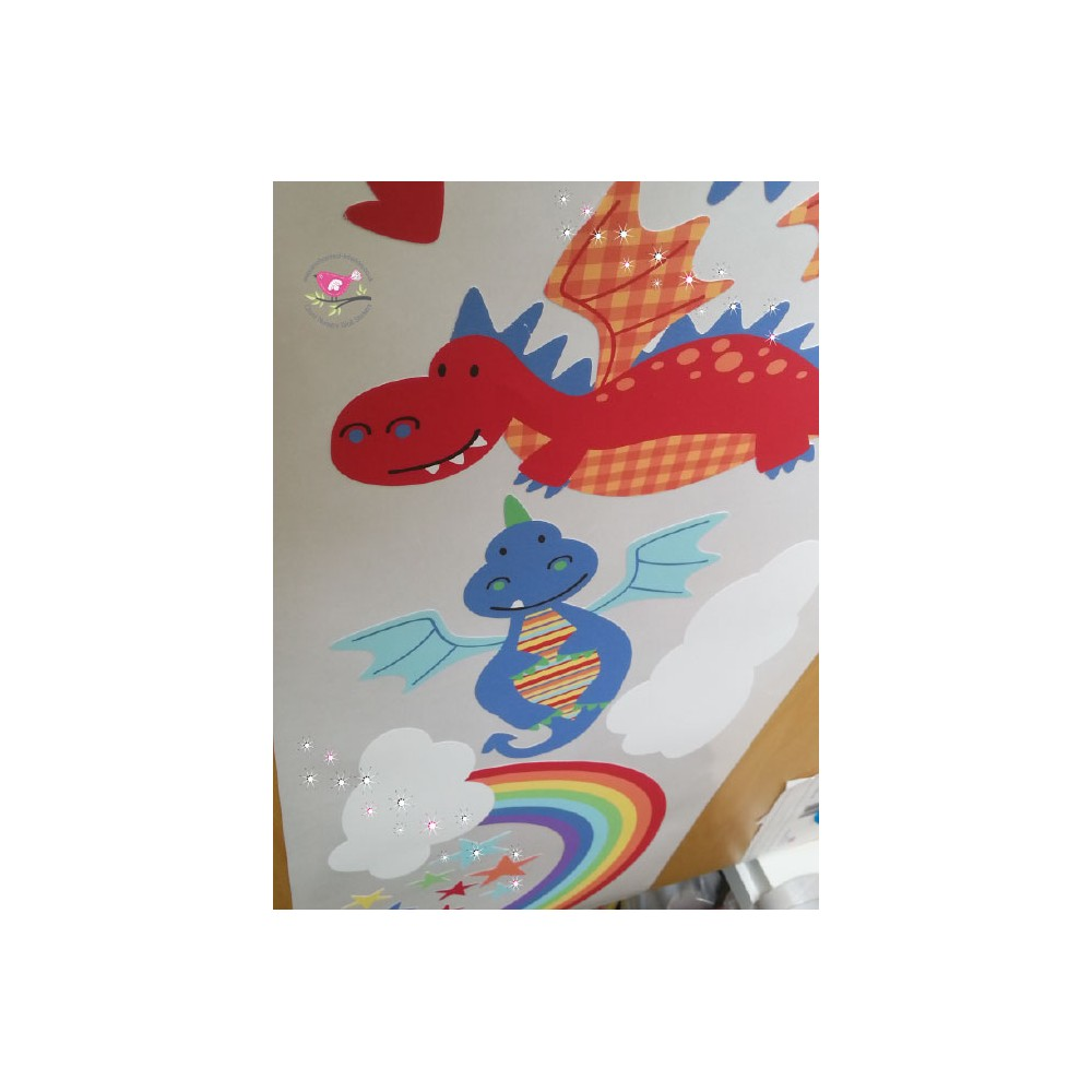 Dragon And Rainbow Nursery Wall Stickers