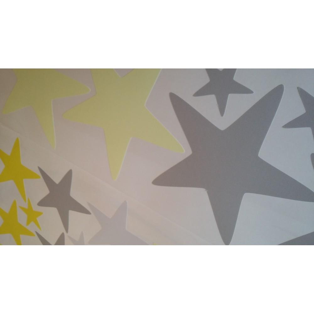 Grey Star Wall Decor : Modern geometric nursery wall art sticker stars