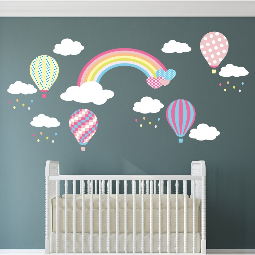 Rainbow Hot Air Balloons And Raindrops Nursery Wall Stickers