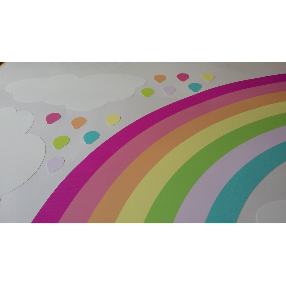 Rainbow Hot Air Balloon And Raindrop Wall Stickers