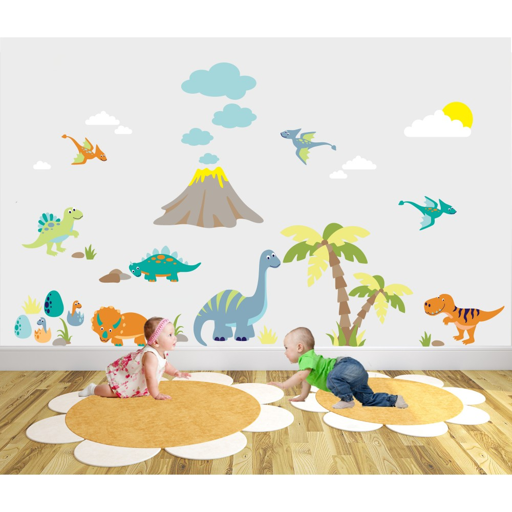 Deluxe Dinosaur Nursery Wall Art Sticker Scene