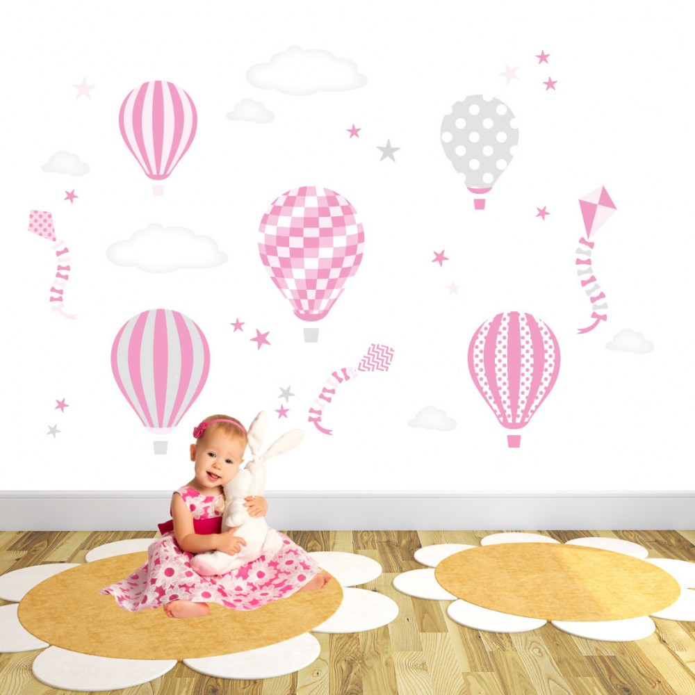 Hot air balloons kites clouds and star nursery wall art stickers hot air balloons and kites wall stickers pink and grey nursery amipublicfo Images