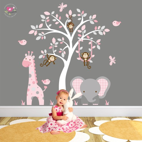 Elephant and Giraffe Pink and Grey Nursery Wall Stickers