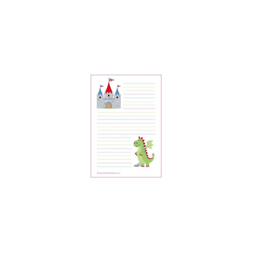 able magical writing paper magical dragon and castle writing paper