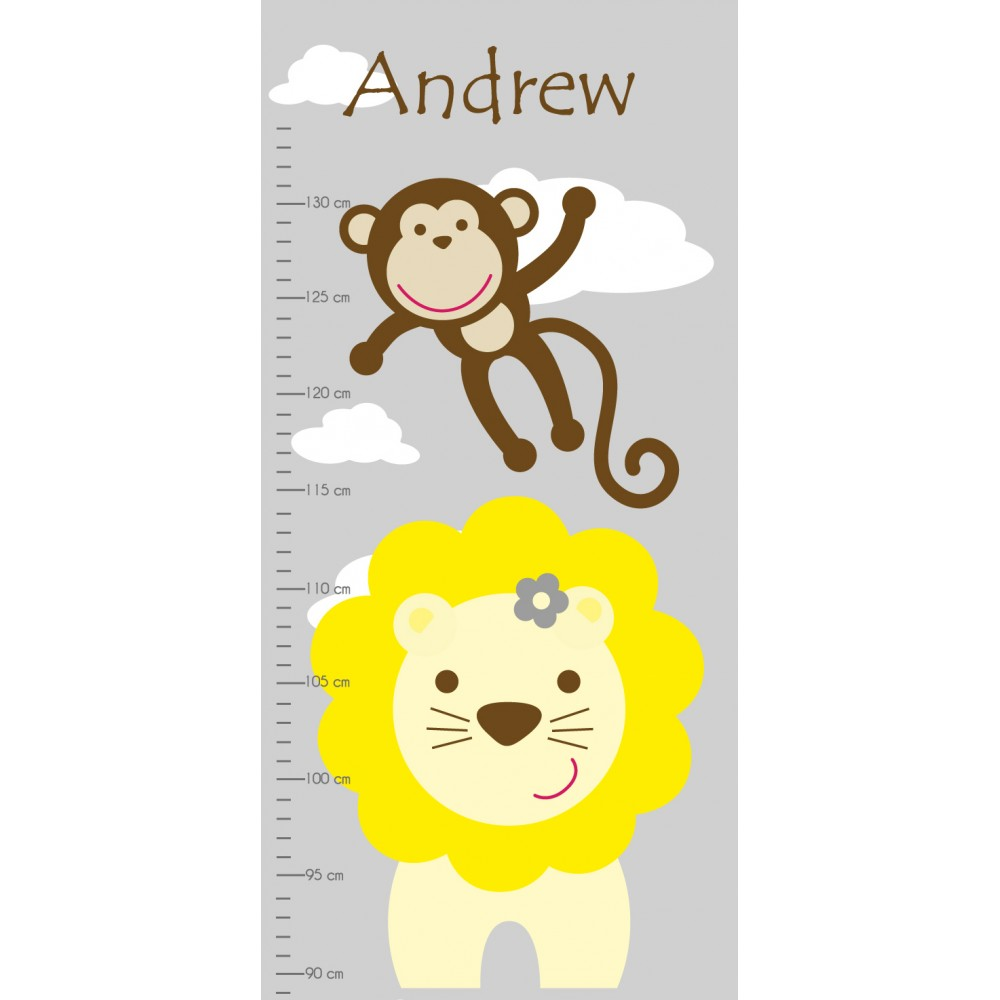 Jungle animal growth chart decal next nvjuhfo Image collections
