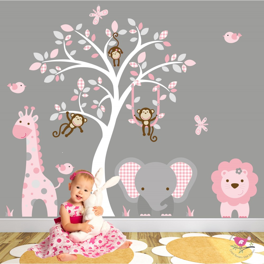 Wall Art Decals For Living Room: Jungle Animal Nursery Wall Art Stickers