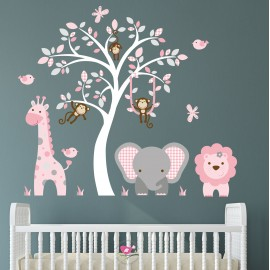 Jungle Wall Stickers Pink...