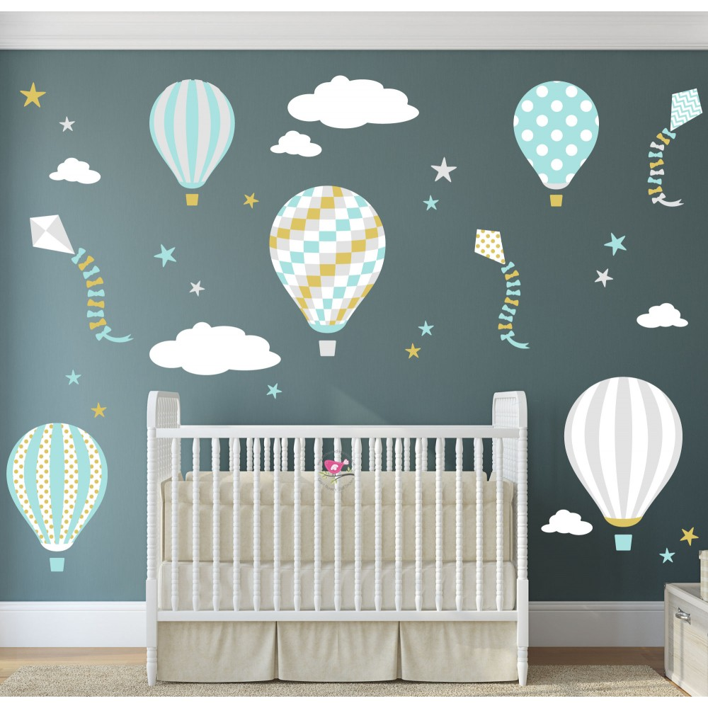 Hot Air Balloons and Kites Wall Sticker Scene