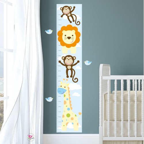 Jungle Animal Kids Growth Chart - Netural