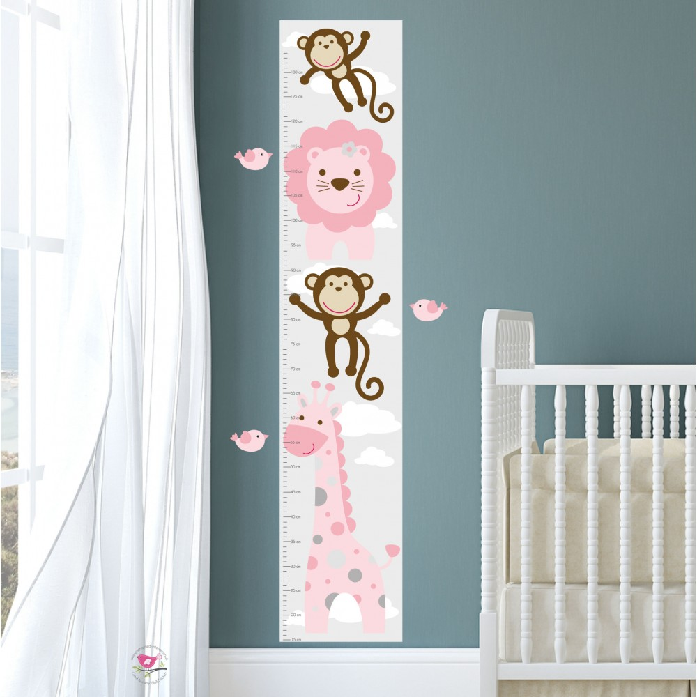 Jungle Animal Kids Growth Chart - Pink Grey