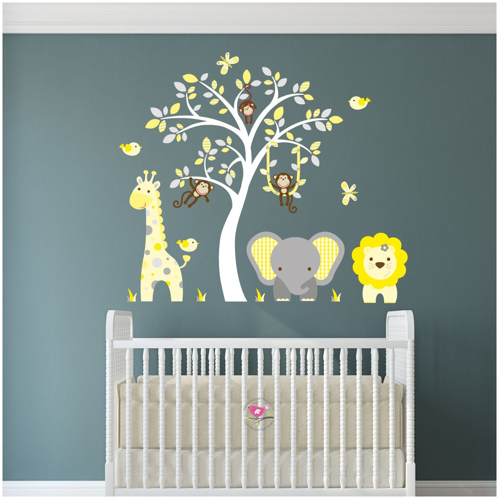 Jungle Wall Art Decals, Yellow And Grey Nursery