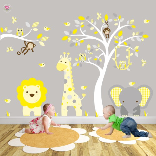 Safari Woodland Nursery Wall Art Stickers
