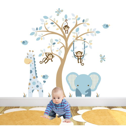 Elephant and Giraffe Nursery Wall Stickers Coffee Cream & Blue
