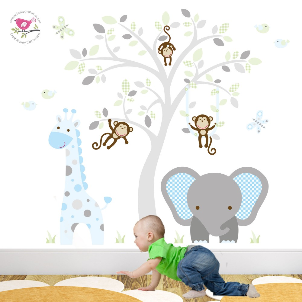 jungle animal nursery wall art stickers elephant and giraffe mint blue and grey nursery wall stickers