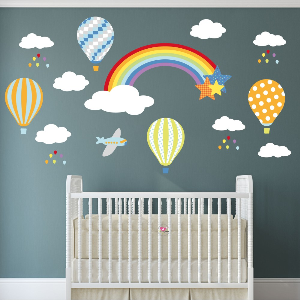 Rainbow Hot Air Balloons Jets and Raindrops Nursery Wall Stickers