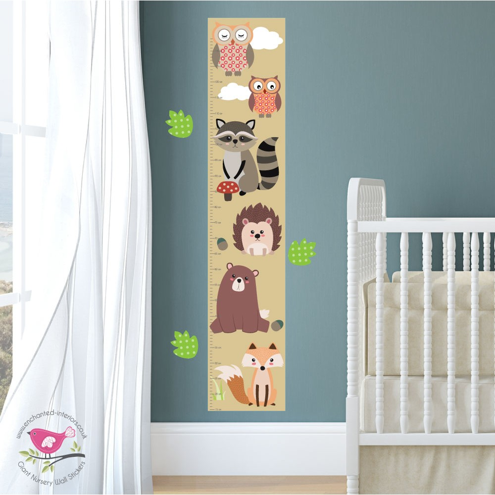 New Large Woodland Animal Nursery Wall Stickers Featuring