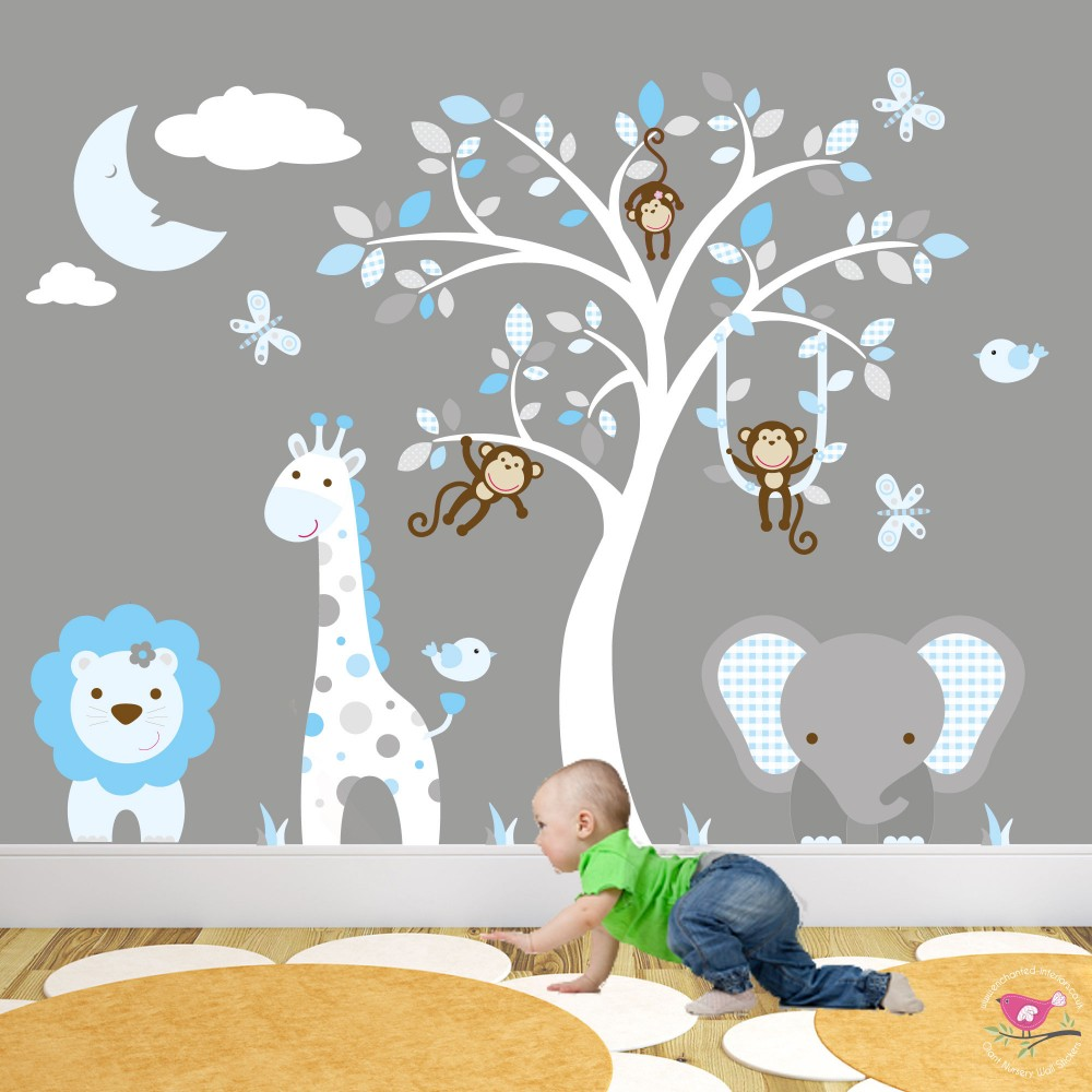 Jungle animal nursery wall art stickers for Animal wall mural