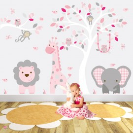 Safari Woodland Wall Decals Cerise, Pink and Grey Nursery