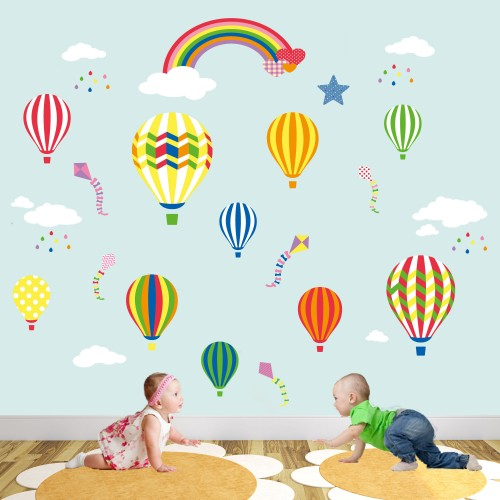 Rainbow Hot Air Balloons Nursery Wall Decals