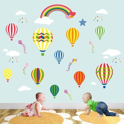 hot air balloon rainbow nursery wall stickers sunny decals unicorn and rainbow fabric wall decal