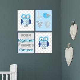 Owl Nursery Wall Prints Twins