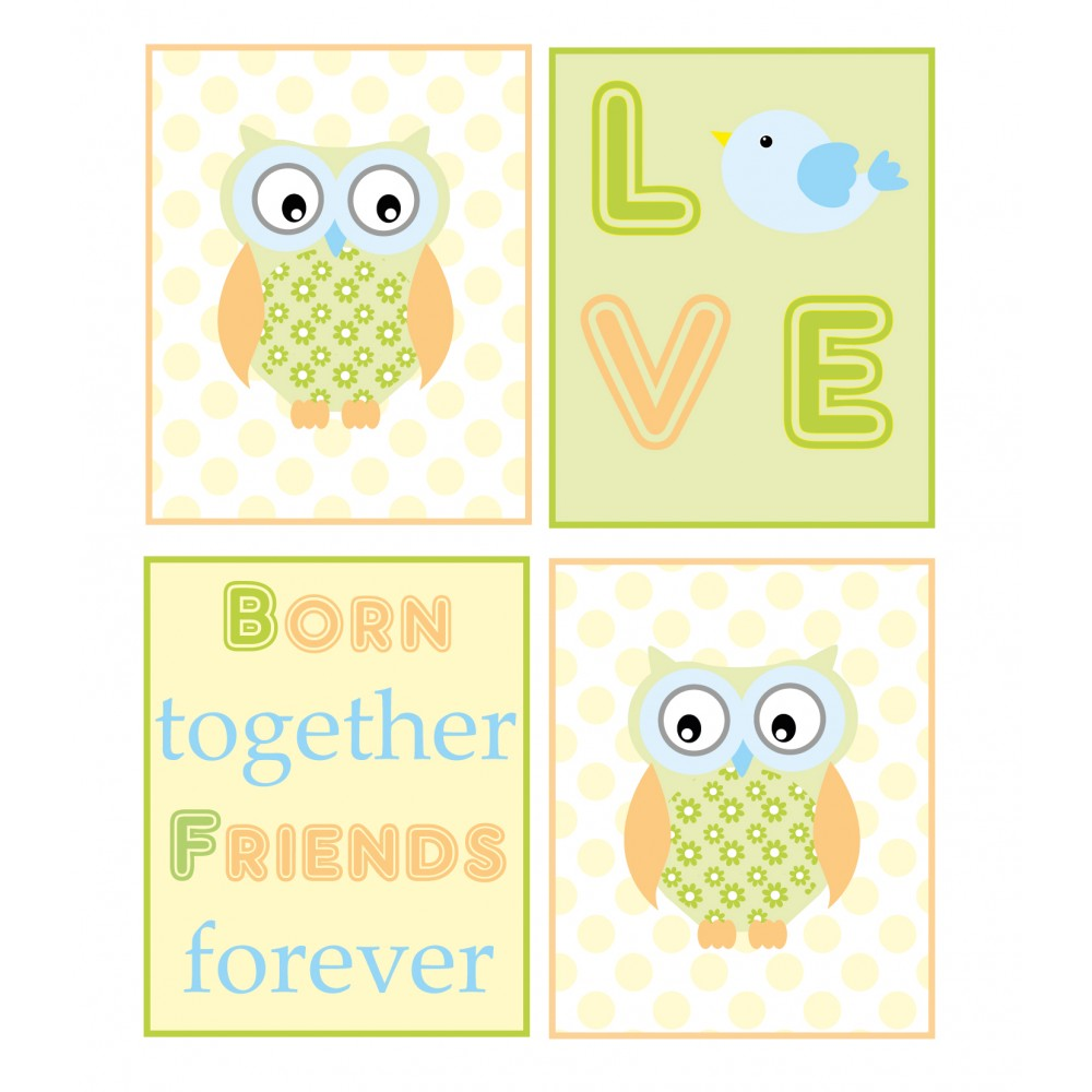 Owl Born Together Friends Forever Nursery Wall Art Prints
