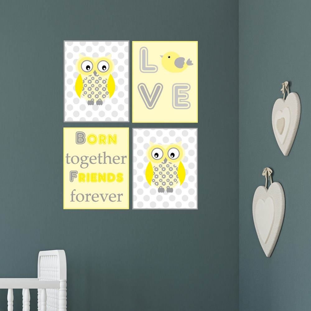 Owl Born Together Friends Forever Wall Art Print