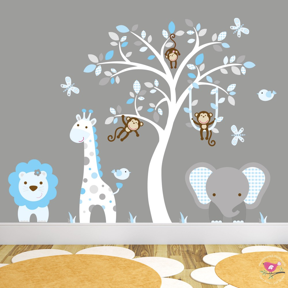 Jungle Wall Art Decals, Blue, Grey And White Nursery