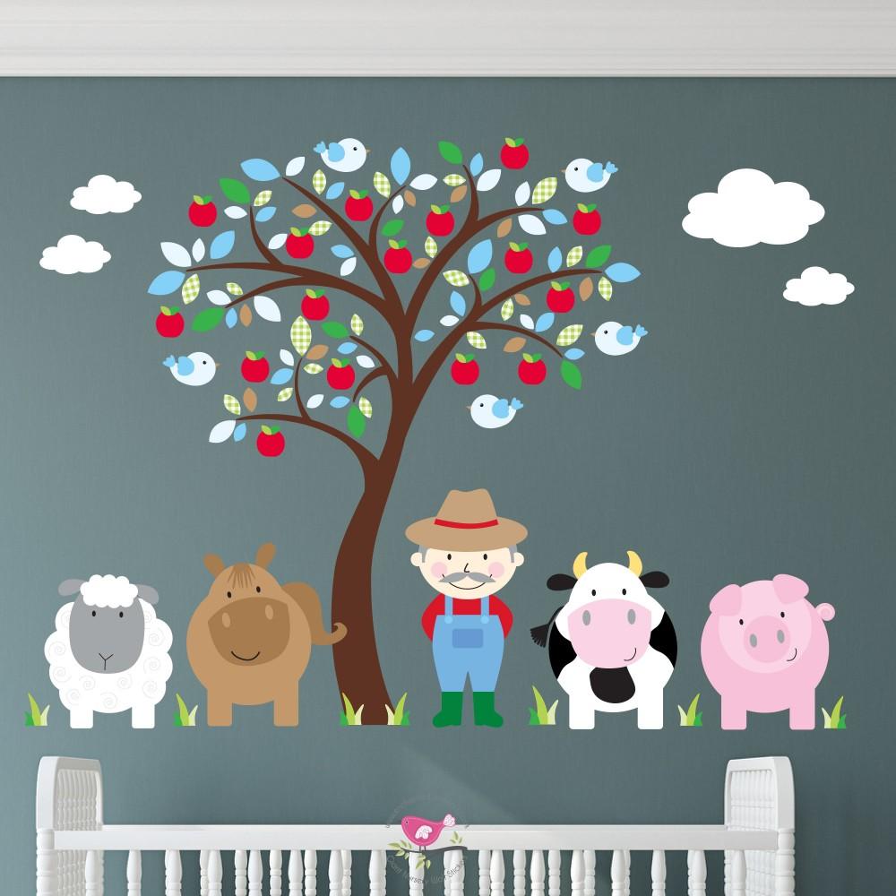 Farm Animal Wall Stickers - Blue
