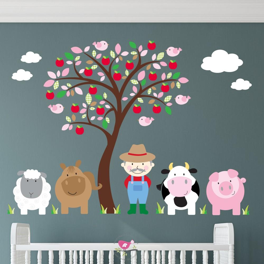 Farm Animal Wall Stickers - Pink