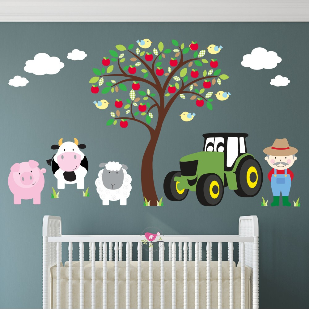 Farm Animal and Tractor Wall Stickers - Neutral