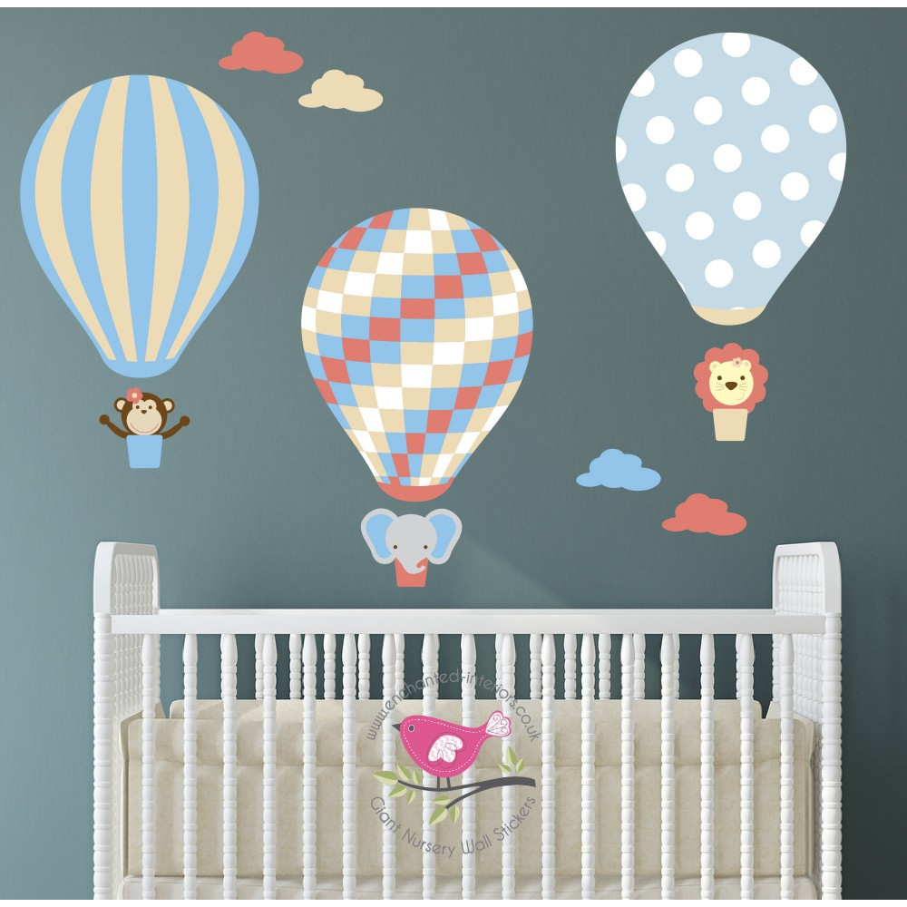 Jungle Hot Air Balloon Wall Stickers