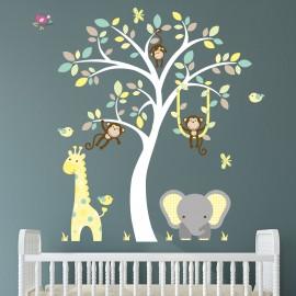 Elephant and Giraffe Teal,...