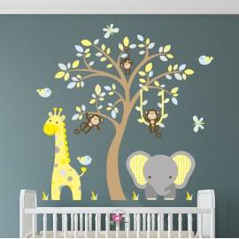 Elephant and Giraffe Blue,...