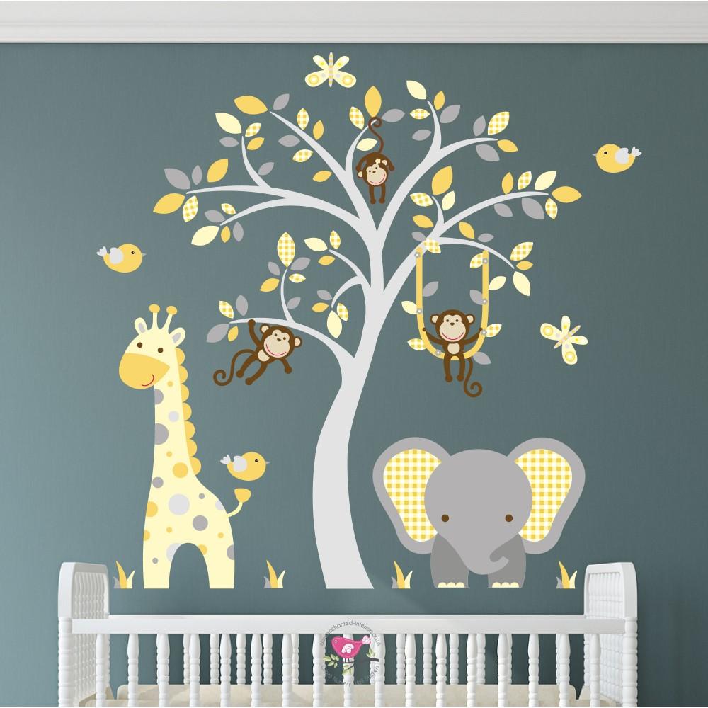 Elephant and Giraffe Mustard, Yellow & Grey Nursery