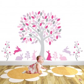 Woodland Rabbits Purple, Pink and Grey Nursery Wall Decals