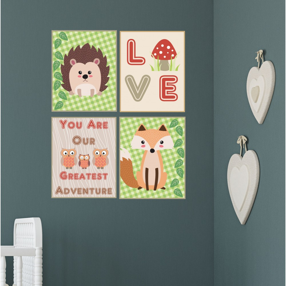 Woodland animal nursery wall prints