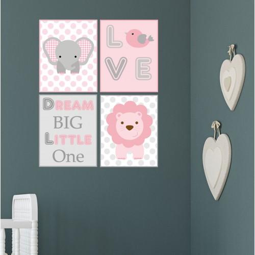 Elephant and Lion Jungle Wall Print