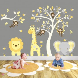 Jungle Animal Wall Decals Mustard and Grey
