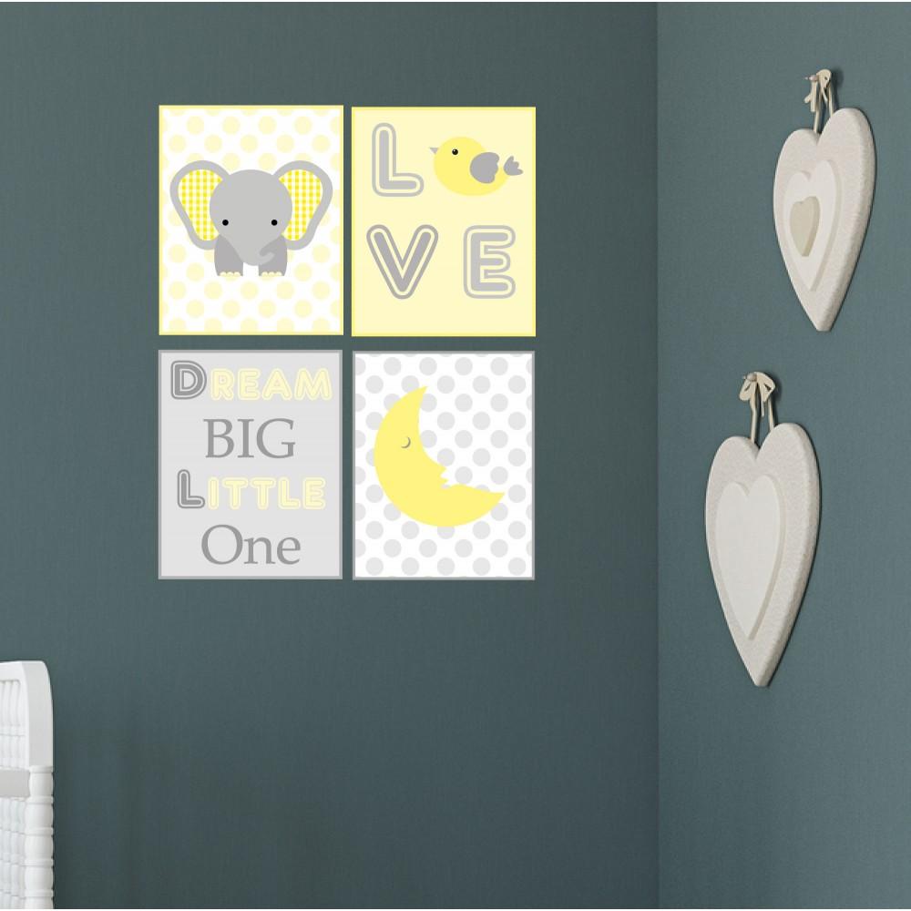 Elephant and Moon Jungle Wall Print