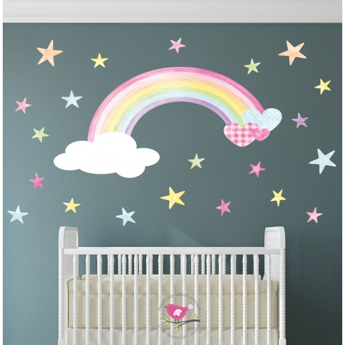 Magical Rainbow, Heart & Stars Water Colour Wall Decals