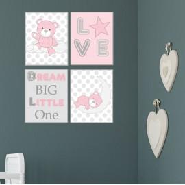 Teddy Bear Wall Print Pink,...