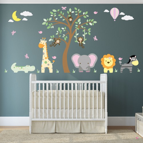 Jungle Animal Nursery Wall Decal Girls Nursery