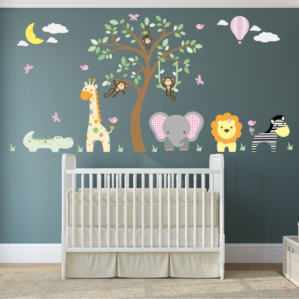 Jungle Animal Nursery Wall Decals For Baby Girls Nursery