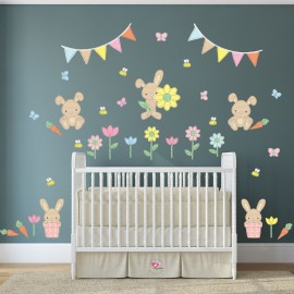 Fabric Stitch Bunny Rabbits Nursery Wall Stickers
