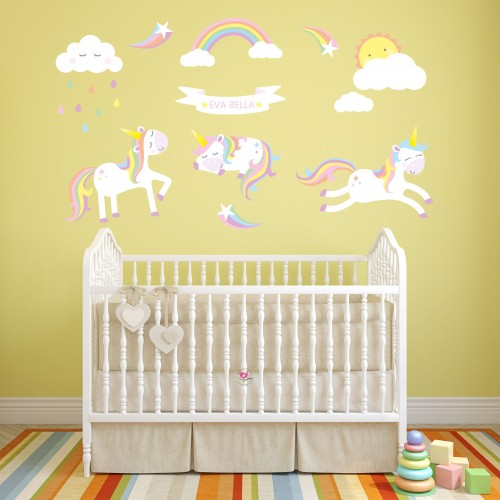 Unicorns and Rainbows Wall Decals Personalised